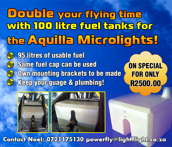 Double your flying time with this awesome 100 litre fuel tank for the AQUILLA!